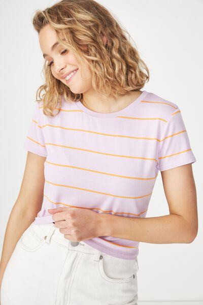 The Baby Tee, ANJA STRIPE VIOLET SKY/CITRUS ORANGE