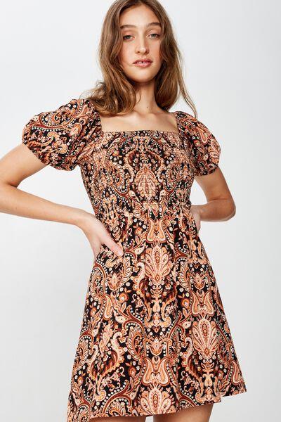 Woven Molly Prairie Mini Dress, MARIA PAISLEY BLACK