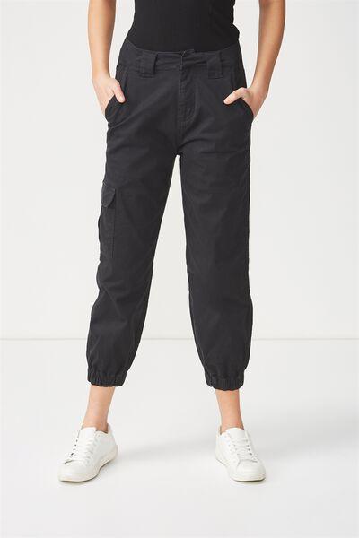 Carla High Waist Utility Pant 2, BLACK