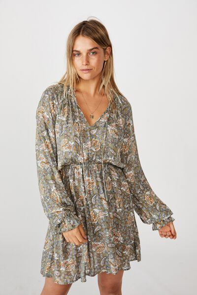 Woven Kasey Long Sleeve Smock Dress, EMILY FLORAL PAISLEY OIL GREEN