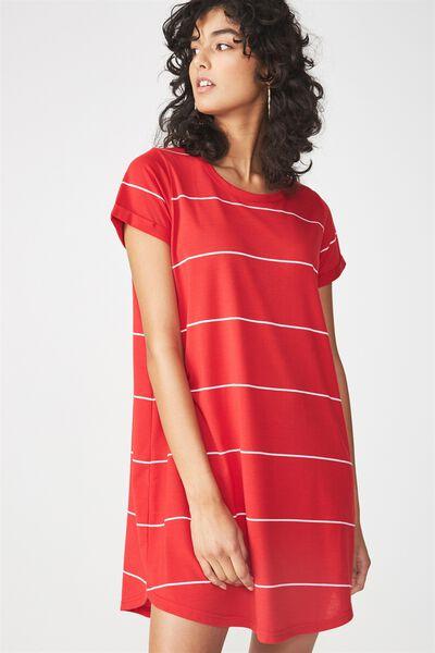 Tina Tshirt Dress 2, CHILLI RED/WHITE WIDE STRIPE