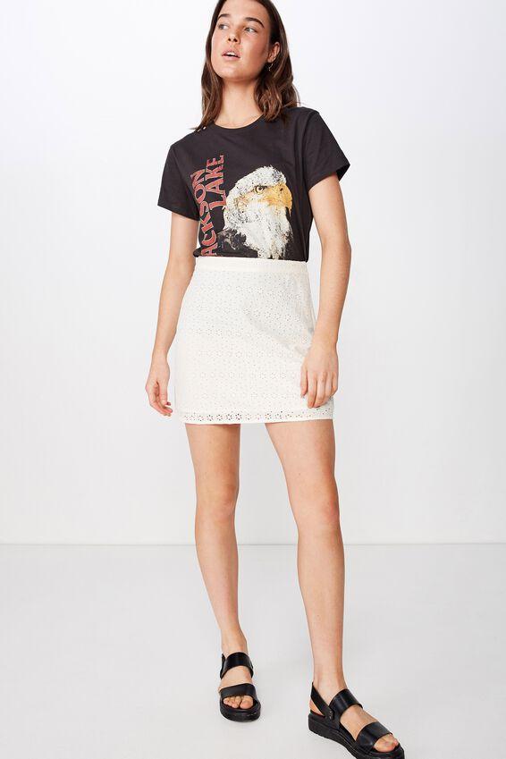 Woven Stevie Broderie Mini Skirt, EGGNOG