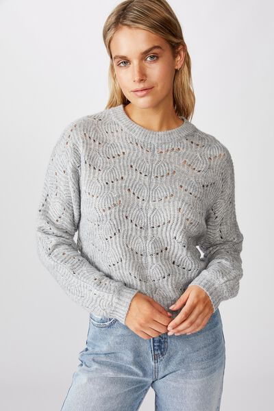 Patsy Cropped Pointelle Pullover, TRADEWINDS