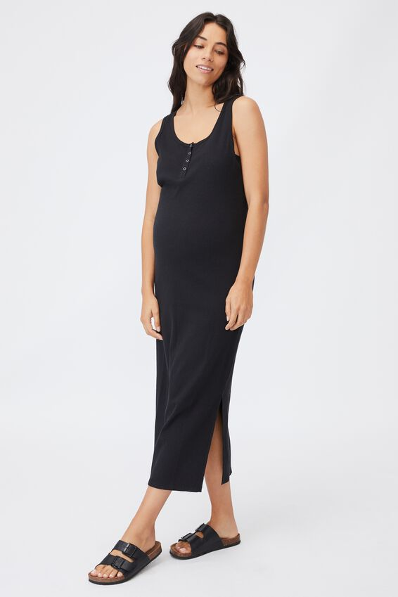 Maternity Rib Henley Maxi Dress, BLACK