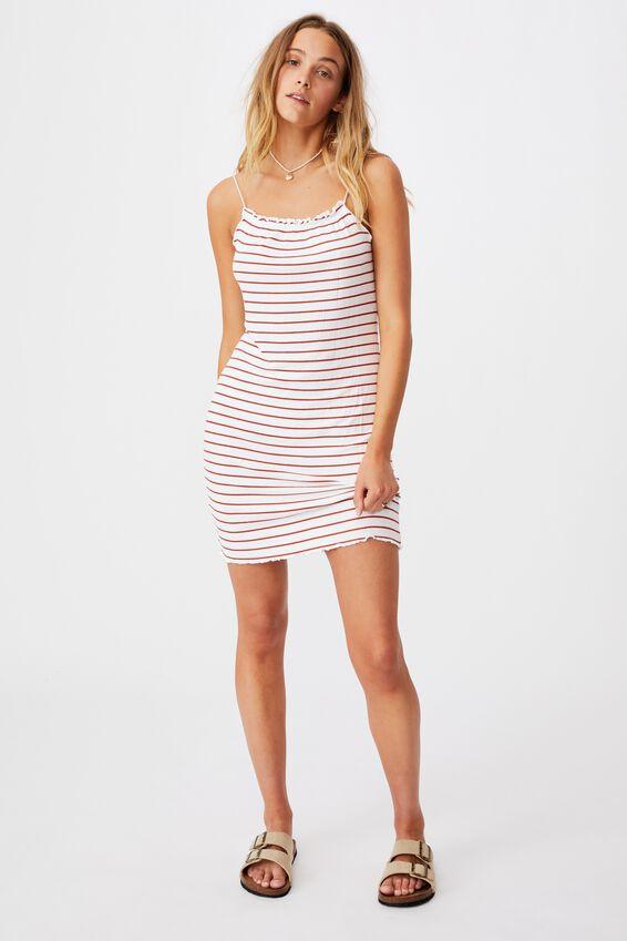 Renee Straight Neck Mini Dress, WHITE/RED CLAY STRIPE