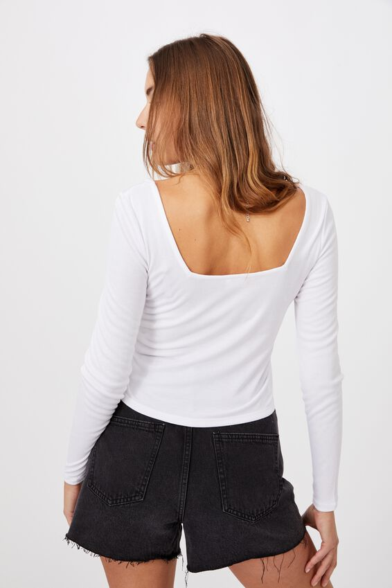 Serena Square Neck Long Sleeve Top, WHITE