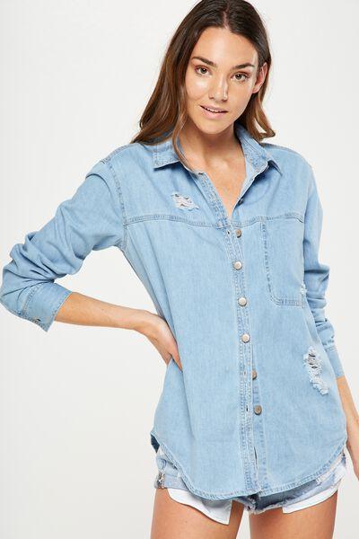 Houston Denim Shirt, BLEACH BLUE