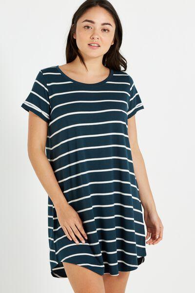 Tina Tshirt Dress 2, VELVET GREEN/CREAM AVA STRIPE