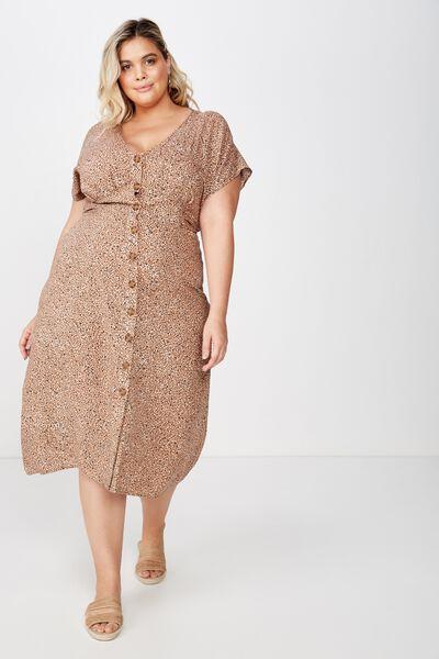 Curve Button Front Midi Dress, CHLOE MINI ANIMAL BROWN
