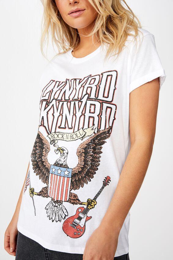 Classic Band T Shirt, LCN LN LYNYRD SKYNYRD ROCK N ROLL/WHITE