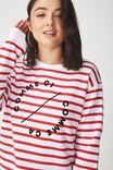 Ferguson Graphic Crew Sweatshirt, COMME CI CHILI RED STRIPE/WHITE