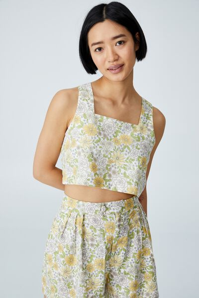 Day Dreamer Cropped Shell Top Petite, RENEE RETRO FLORAL MULTI WHITE