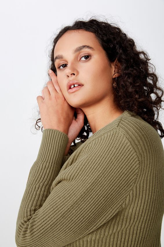 Archy Cropped 2 Pullover, LIGHT OLIVE
