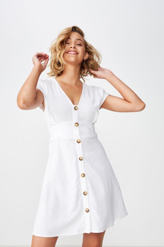 Woven Jenny Deep V Mini Dress, WHITE