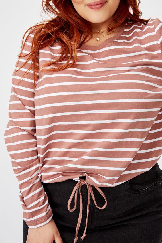 Curve Fleur Keyhole Long Sleeve Top, SUTTON STRIPE BURLWOOD MARLE/WHITE