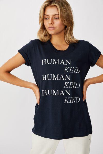 Classic Slogan T Shirt, HUMAN KIND/MOONLIGHT