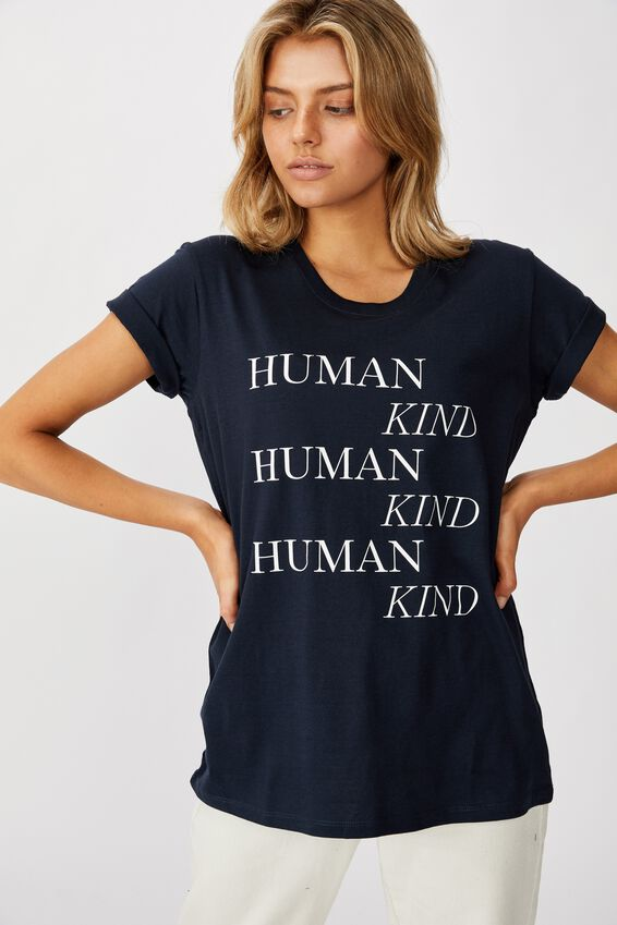 Classic Slogan T Shirt, HUMAN KIND/MOONLIGHT