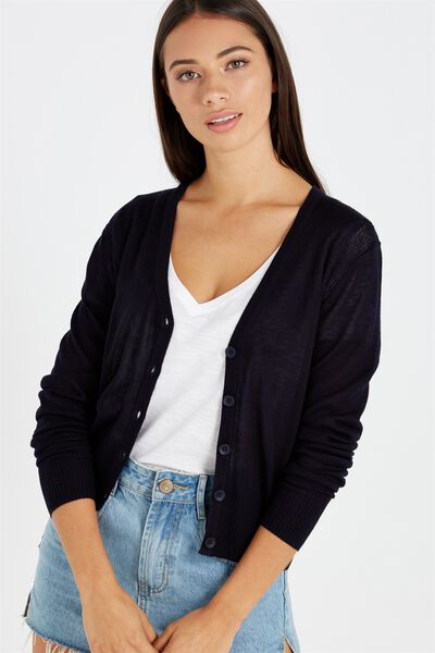 Cutesey 2 Button Through Cardi, DEEP NAVY