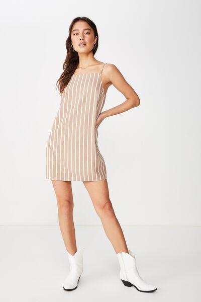 Woven Mandy Straight Neck Mini Dress, KAYLA STRIPE EGGNOG / BROWNIE