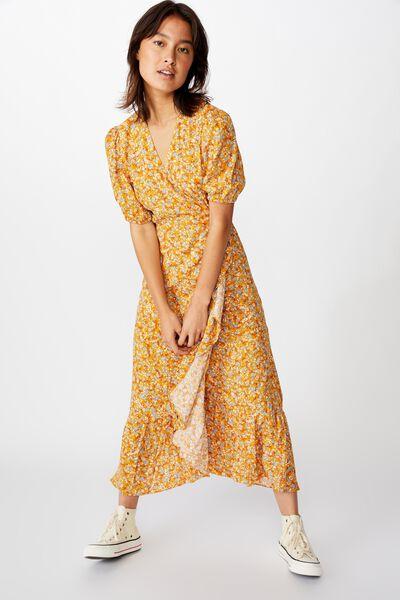 Woven Ri Ruffle Wrap Maxi Dress, BRONTE DITSY MINERAL YELLOW