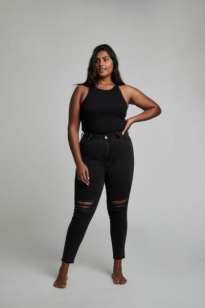 Curve Adriana High Crop Skinny Jean, MIDNIGHT BLACK RIPS
