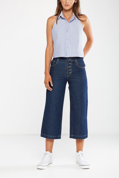 Mid Rise Wide Leg Crop Jean, RINSE