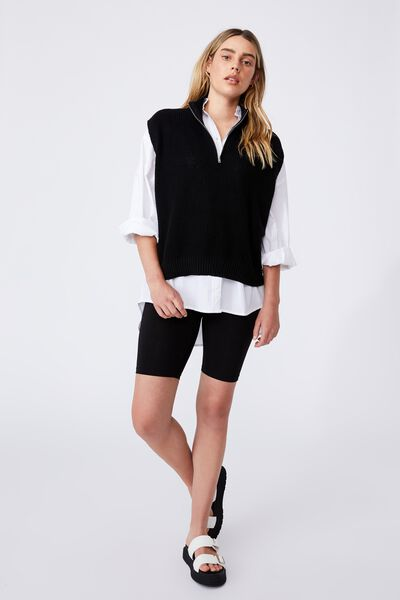 Cotton Half Zip Vest, BLACK