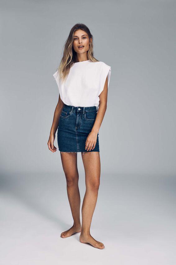 Classic Stretch Denim Mini Skirt, COOGEE BLUE