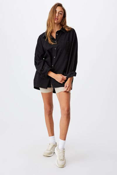 Boyfriend Shirt, WASHED BLACK