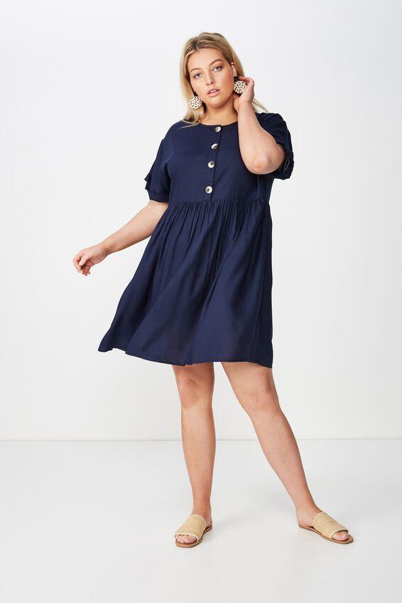 Curve Woven Button Front Dress, MOOD INDIGO