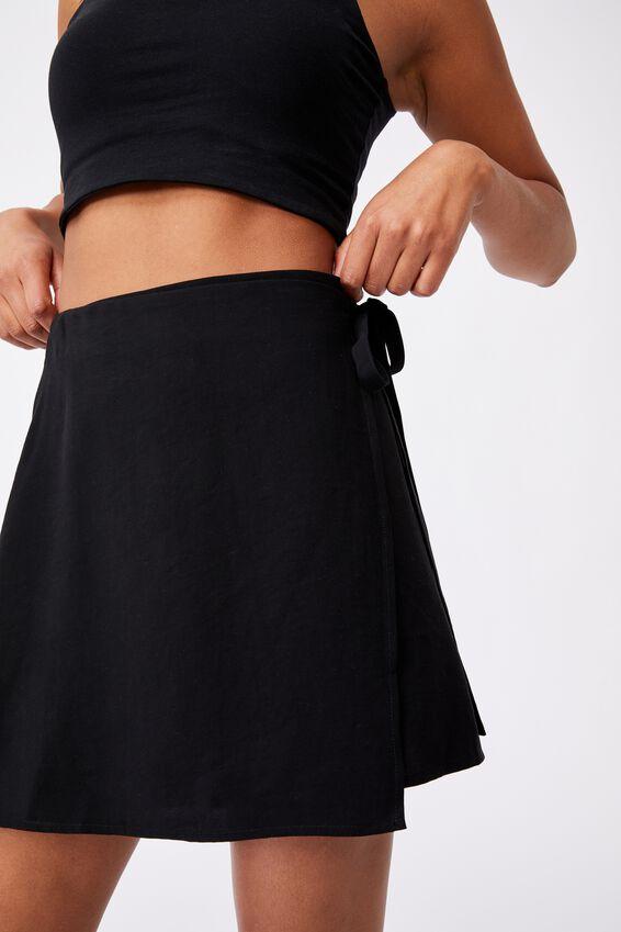 Drew Wrap Mini Skirt, BLACK