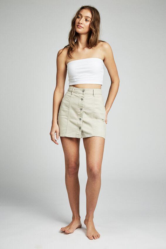 Skye Denim Mini Skirt, PARCHMENT