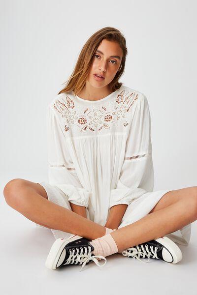 Woven Festival Smock Mini Dress, WHITE