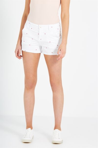 The Slant Pkt Chino Short, CHERRY FLORAL WHITE UNCUFFED