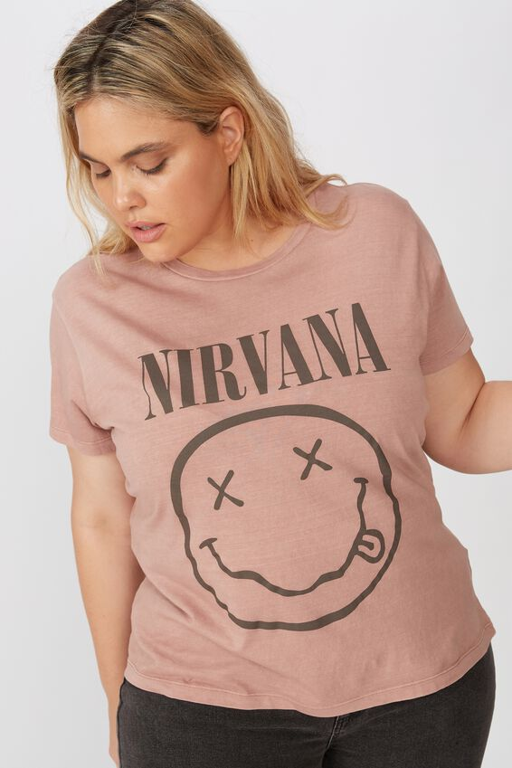 Curve Oversized Graphic License Tee, LCN LN NIRVANA SMILEY/BULRWOOD