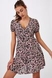 Woven Essential Button Front Mini Dress, CASEY FLORAL BLACK