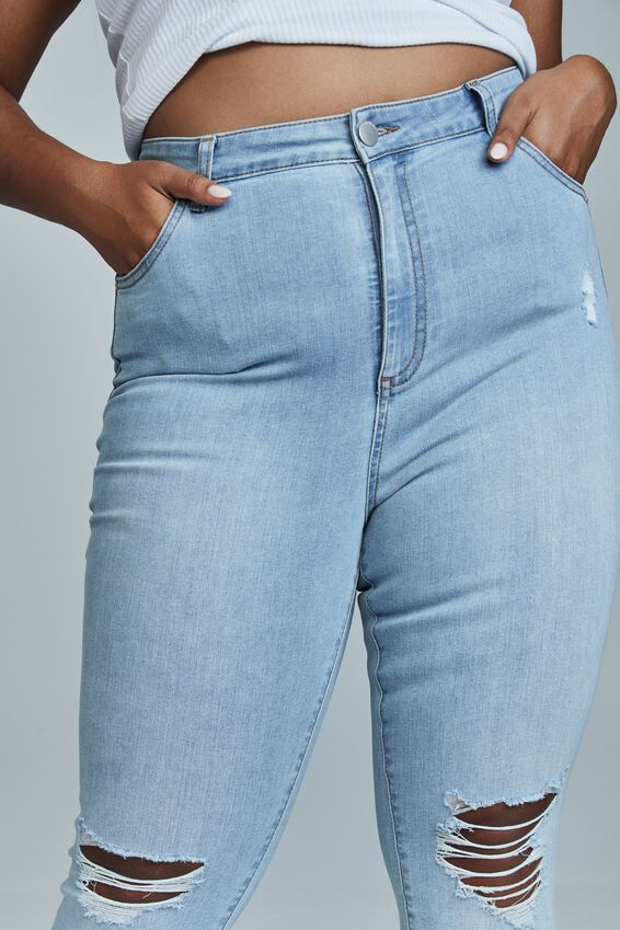 Curve Adriana High Crop Skinny Jean, SEASIDE BLUE RIPS