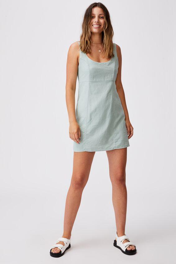 Woven Libby Strappy Mini Dress, LUSH GREEN