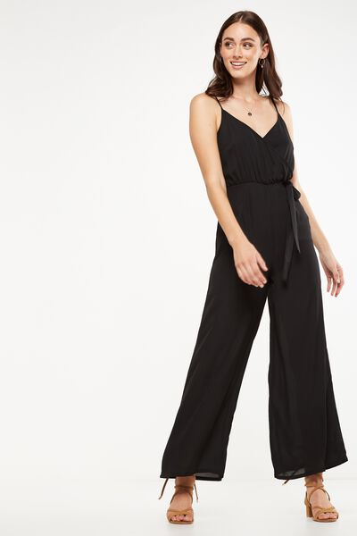 Woven Sully Strappy Wrap Jumpsuit, BLACK