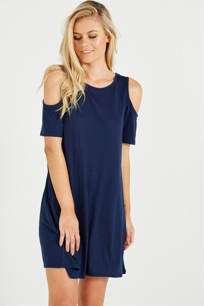 Leo Cold Shoulder Dress, SPACE NAVY