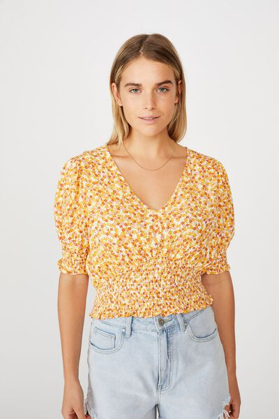 Puff Sleeve Tea Blouse, QUINN DITSY WHITE MANGO