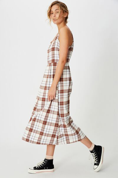 Woven Dalia Check Midi Slip Dress, STACEY CHECK NEUTRAL