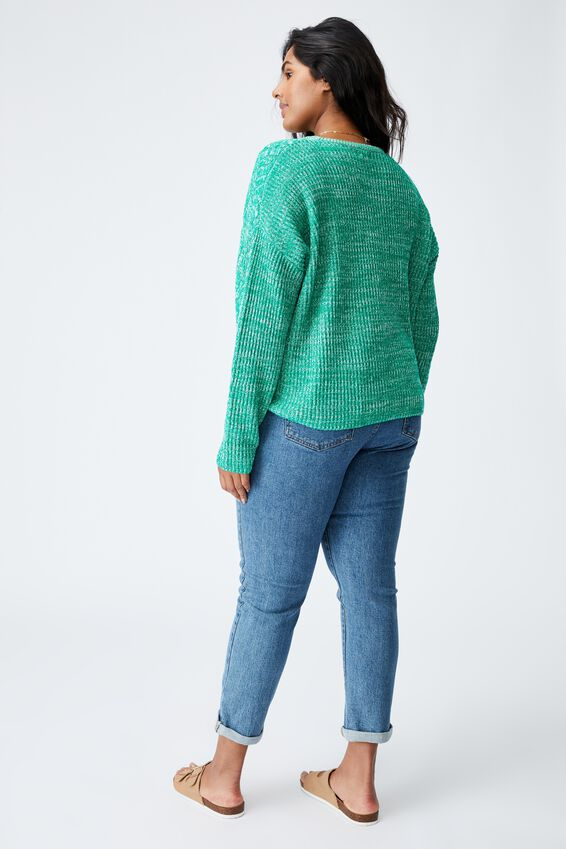 Curve Riley Cotton Knit Jumper, GREEN TWIST