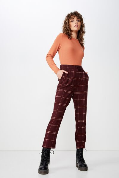 Ava Tapered Pant, KARLA CHECK FIG
