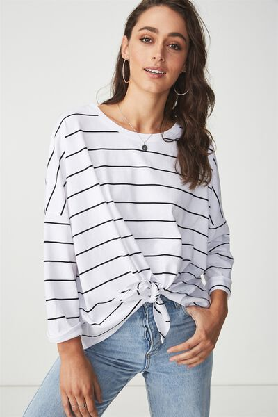 Shelby Oversized Top, HARPER STRIPE WHITE/BLACK