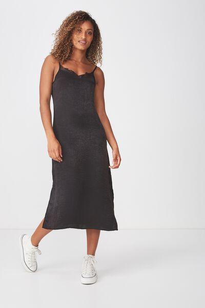 Woven Audrey Lace Midi Slip Dress, BLACK 2