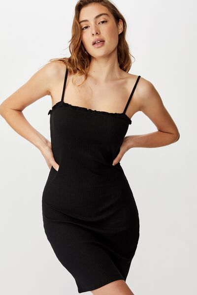 Raegan Strappy Rib Mini Dress, BLACK RIB