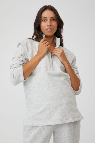 Maternity Zip Front Fleece, LIGHT GREY MARLE