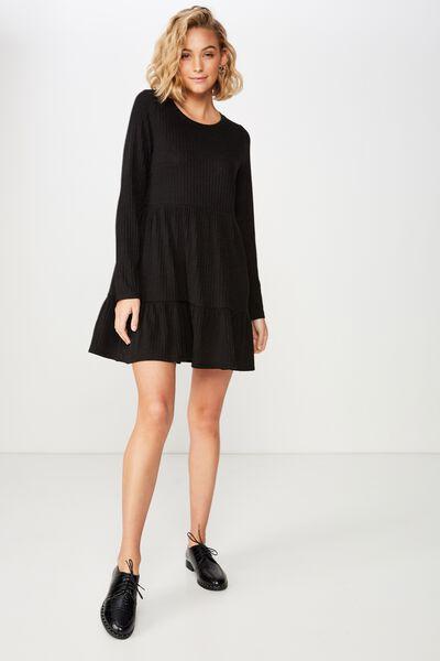 Carissa Baby Doll Mini Dress, BLACK