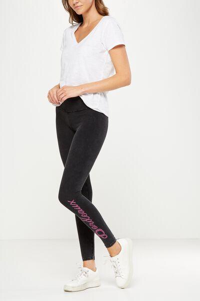 Tranquil Legging, BLACK WASH/BORDEAUX